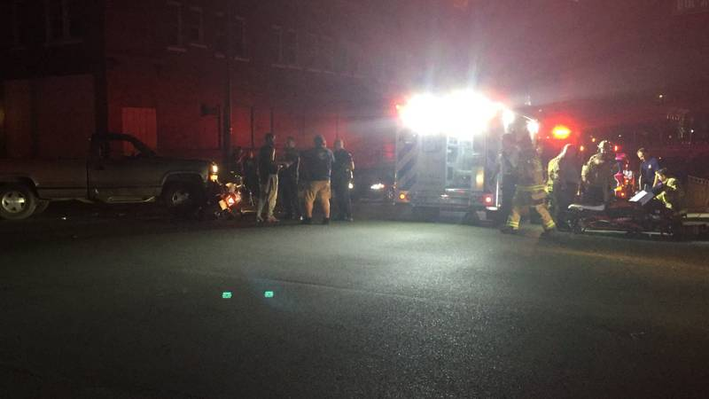 A person on a motorcycle was injured Wednesday evening.