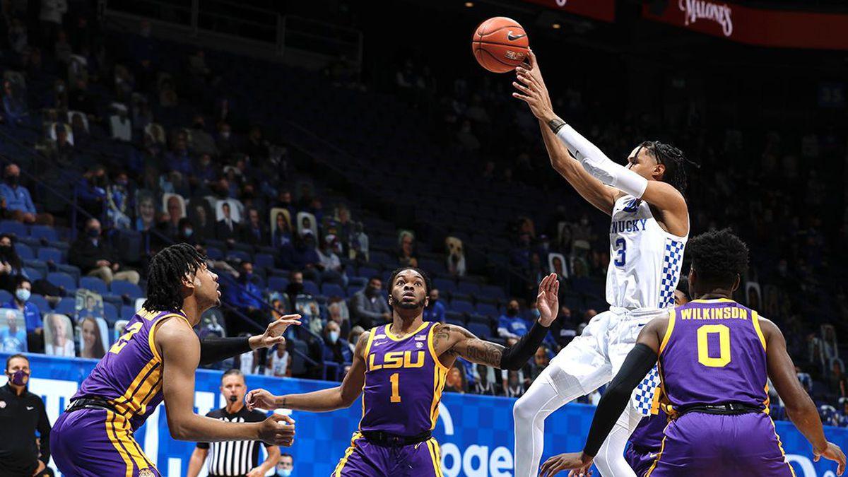 Kentucky guard Brandon Boston Jr. (3) shoots the ball against LSU at Rupp Arena on Jan. 23,...