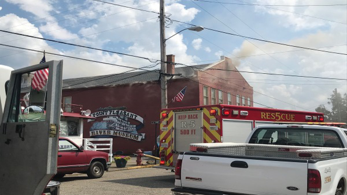 Point Pleasant River Museum on Fire