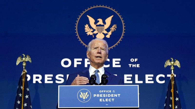 President-elect Joe Biden speaks Monday, Nov. 9, 2020, at The Queen theater in Wilmington, Del.