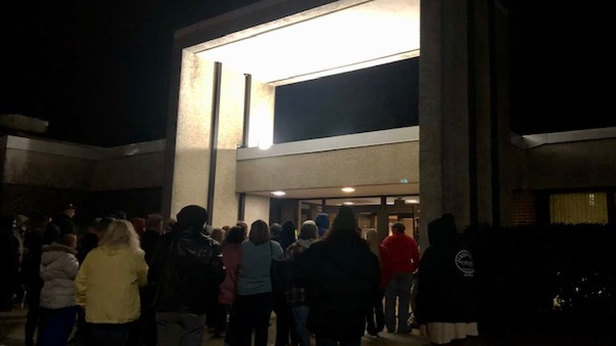 Hundreds of people line up early Saturday morning for a free health clinic in Charleston.