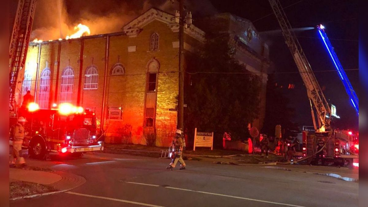 The Louisville Fire Department is working a fire at a church in downtown Louisville, just...