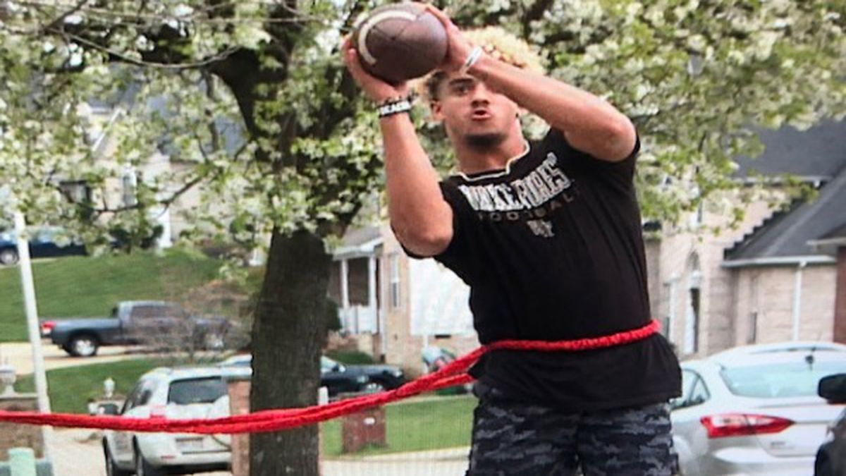 JJ Roberts turns his front yard into a workout facility