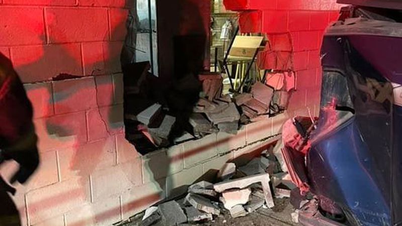 No one was injured when a driver hit the side of a gas station late Tuesday night in Pinch.
