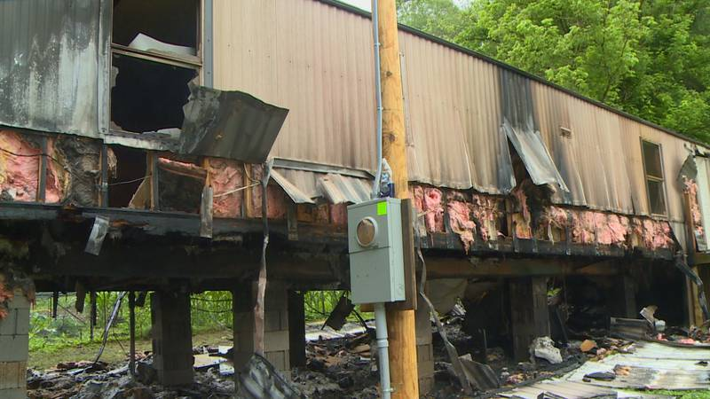 Firefighters say the fire started underneath the newly installed mobile home.