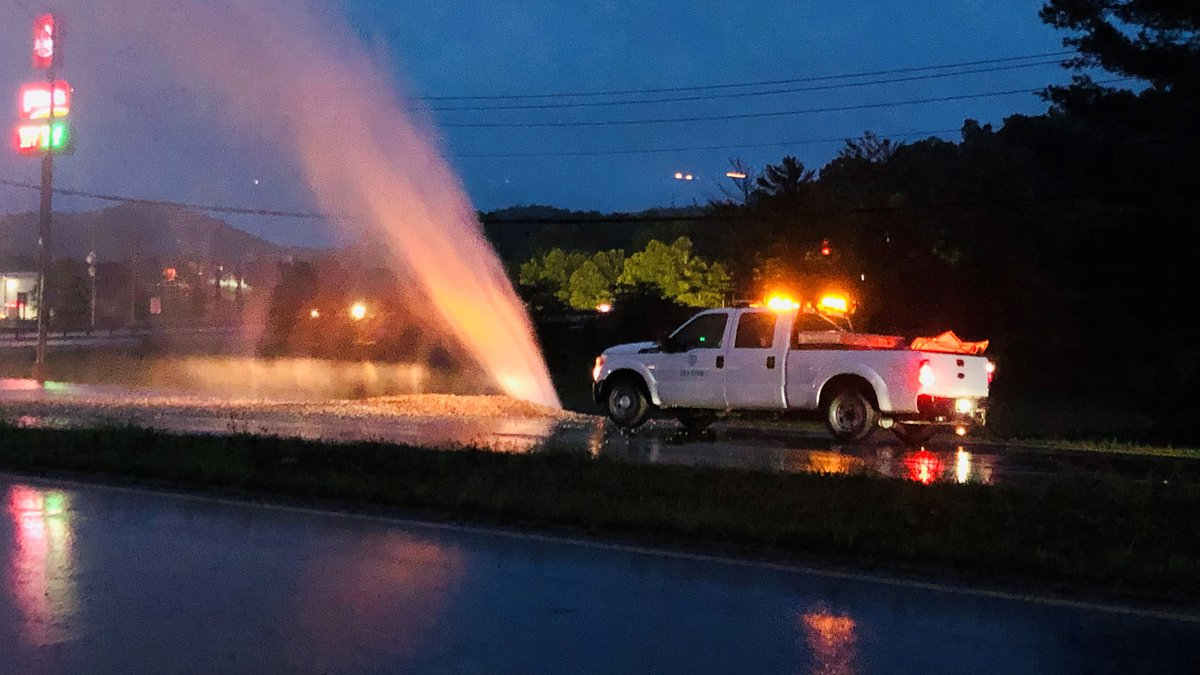 Part of Rt. 25 in Nitro is shut down due to a water main break.