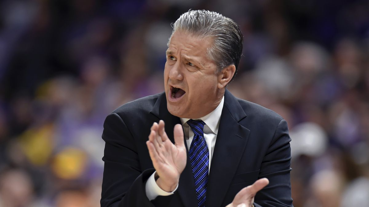 Kentucky head coach John Calipari shouts instructions to his players in the first half of an NCAA college basketball game, Tuesday, Feb. 18, 2020, in Baton Rouge, La. (AP Photo/Bill Feig)