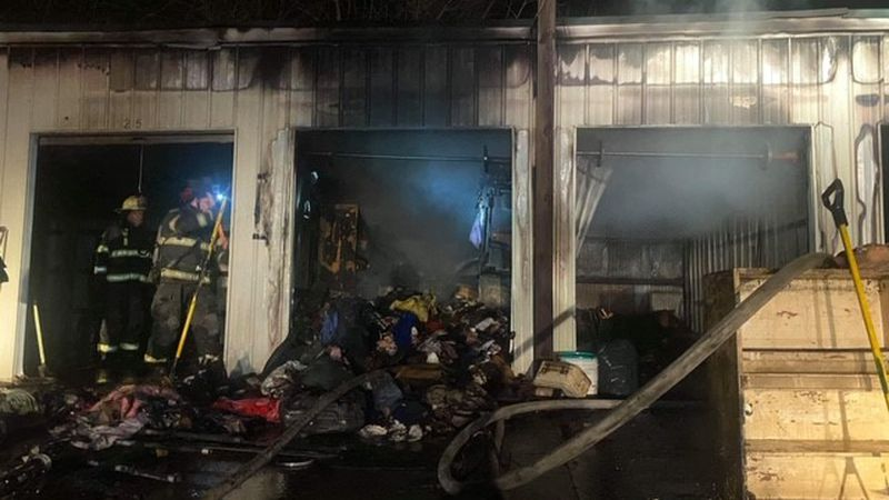 Nine storage units were damaged by fire Tuesday night in Henderson.