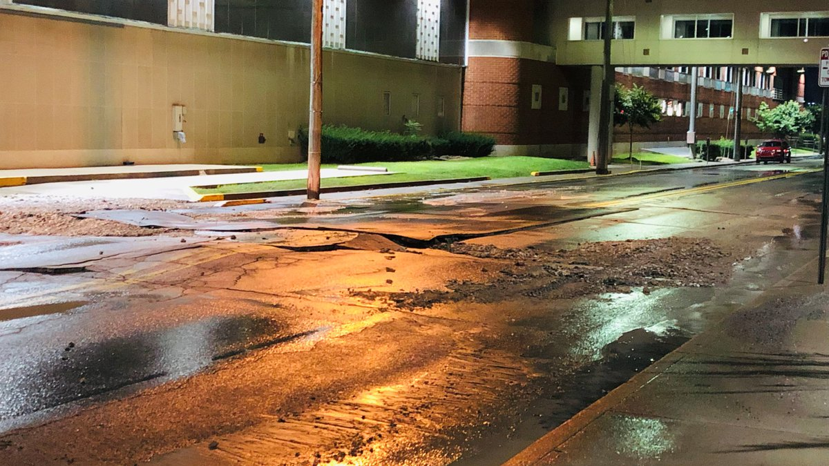 A water main break has closed a busy street in Charleston.
