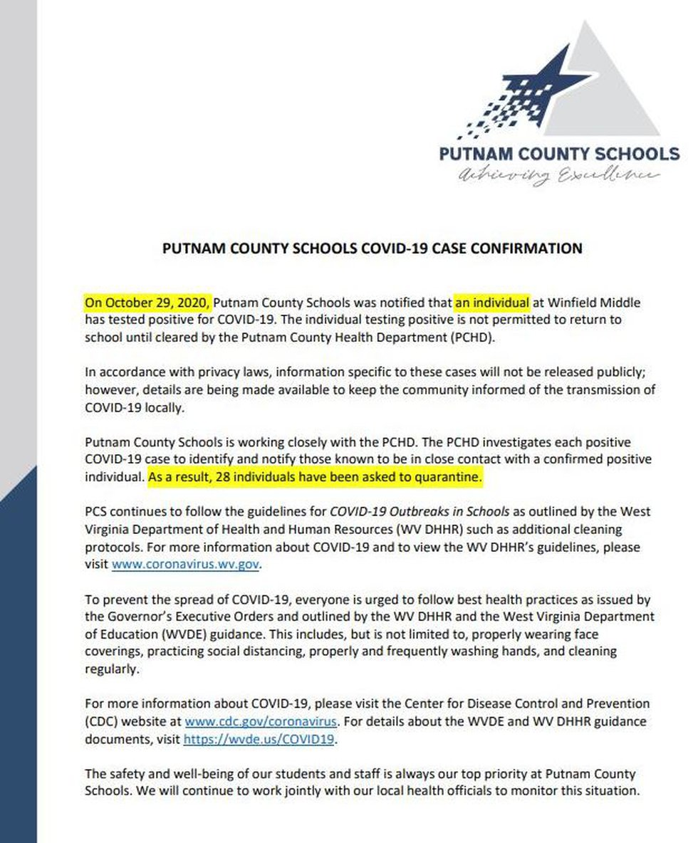 Official letter from Putnam County Schools sent in October, 2020 to WSAZ.