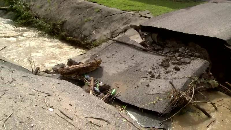 A driveway is washed out on Cowpen Road in Pikeville.