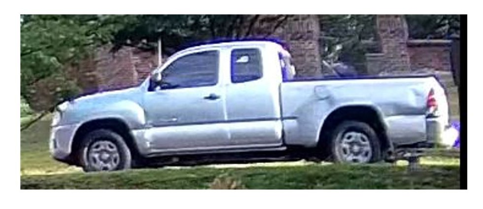 The person of interest was seen driving a silver 2010-2015 2-door Toyota Tacoma extended cab...