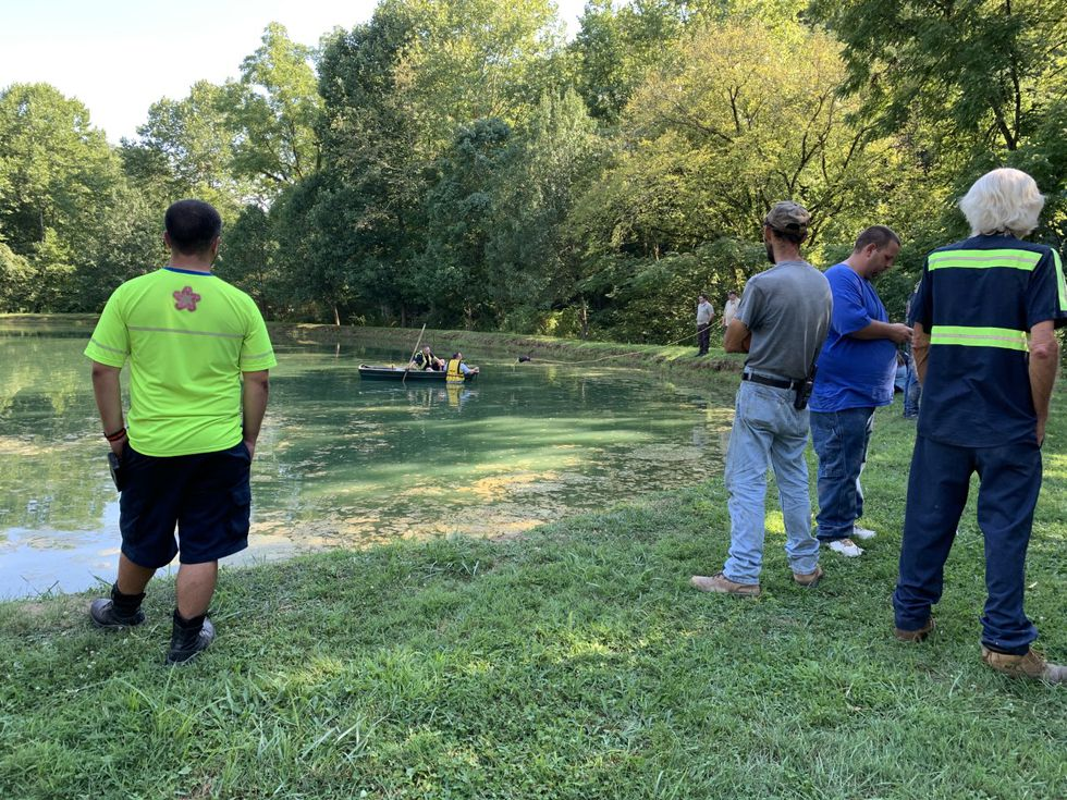 Crews pulled a car from a pond in the Salt Rock area of Cabell County, West Virginia.