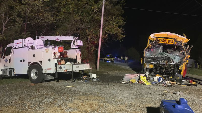 This photo provided by the Tennessee Highway Patrol shows the scene of deadly crash involving a...