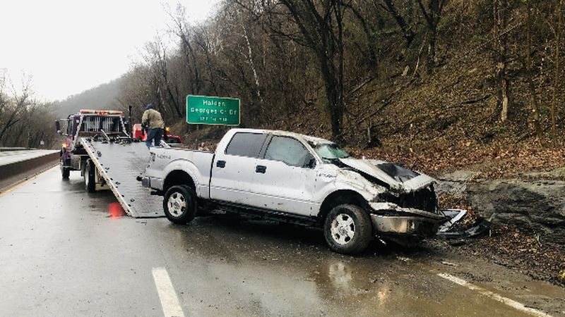 A crash near the Malden exit has shut down lanes of Kanawha Boulevard East Thursday morning.
