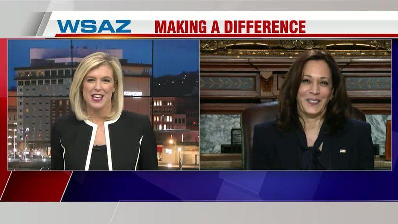 WSAZ's Amanda Barren interviews Vice President Kamala Harris Thursday, Jan. 28.
