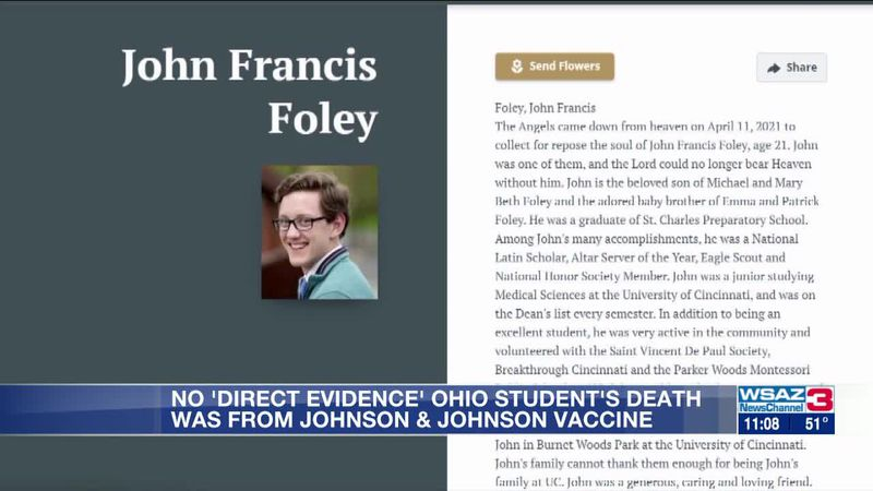 Coroner says Ohio student's death was not caused by Johnson & Johnson vaccine