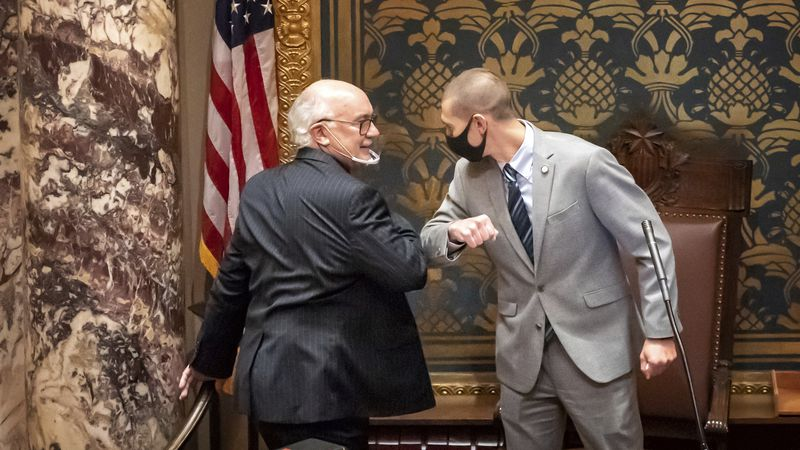 FILE - In this Nov. 12, 2020 file photo, outgoing Minnesota State Senate President Senate...