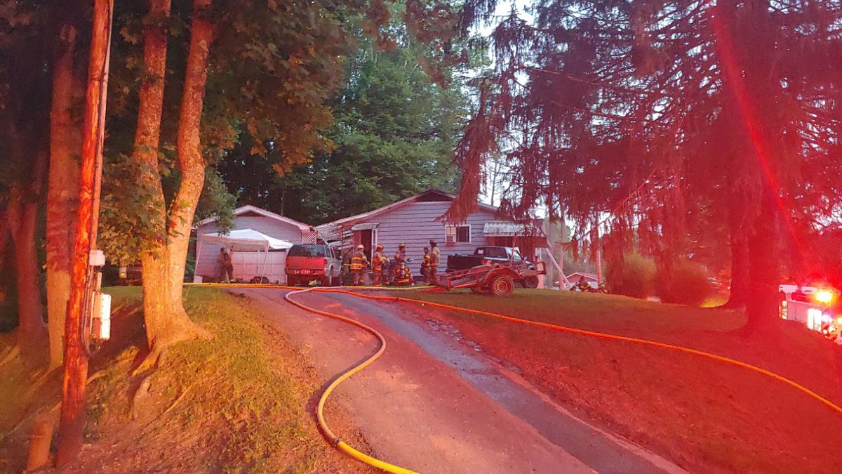 Fire damaged a home Tuesday evening in the Blue Creek area of Kanawha County.