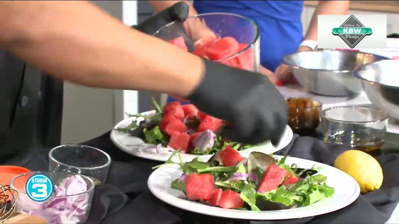 Michael Jarrouj came into Studio 3 to make a watermelon and feta salad.