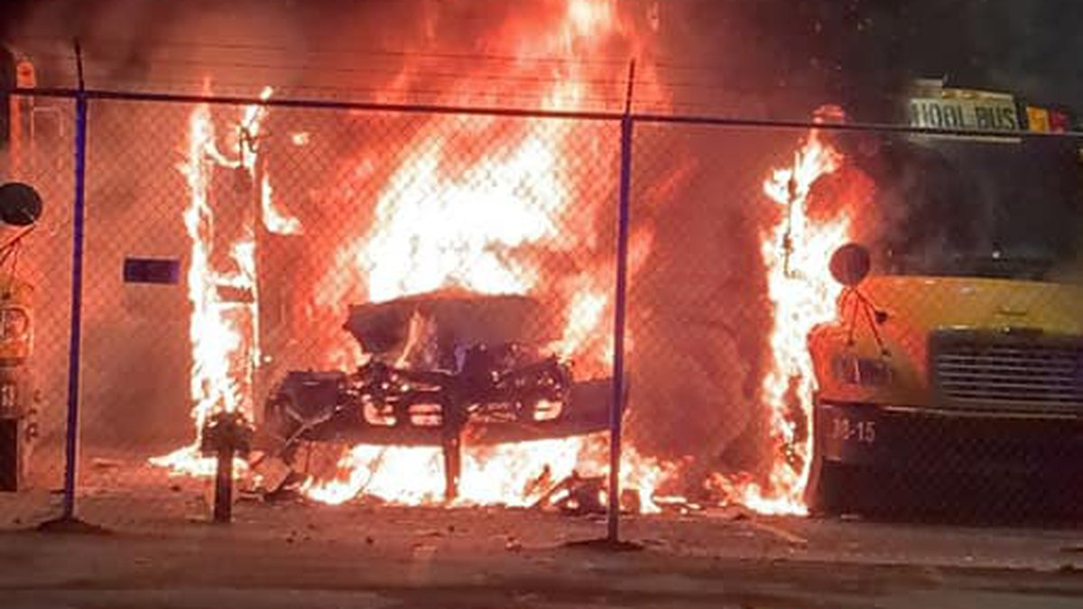 Buses caught fire at the Ripley bus garage around 1:30 a.m. Friday.