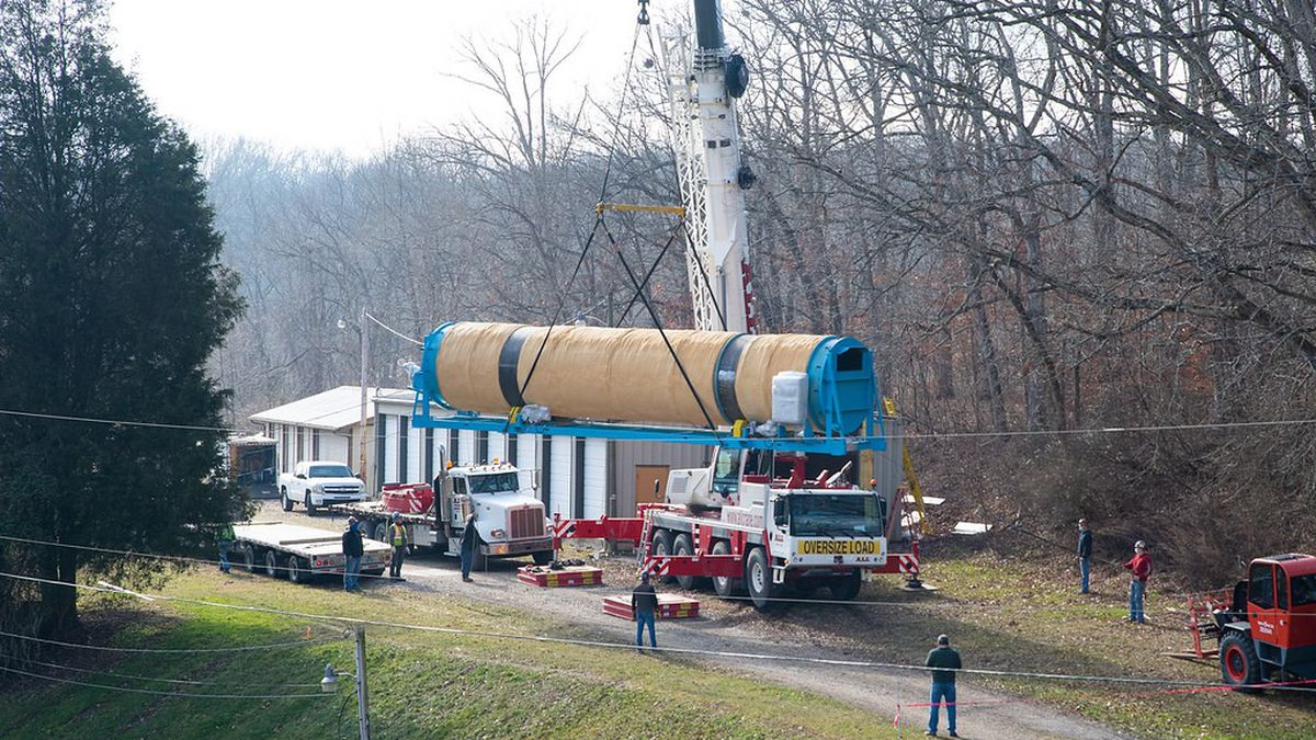 The final piece of equipment, a large commercial digester, was delivered Tuesday to the site...