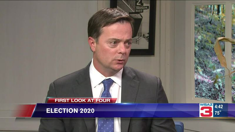 Democratic West Virginia gubernatorial candidate Ben Salango chats with Amanda Barren about a...