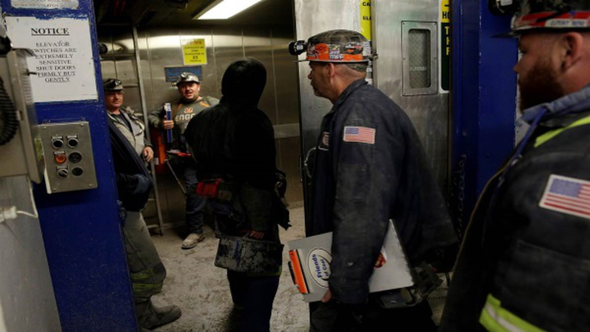 Miners enter an elevator before descending the American Energy Corporation Century Mine at in...