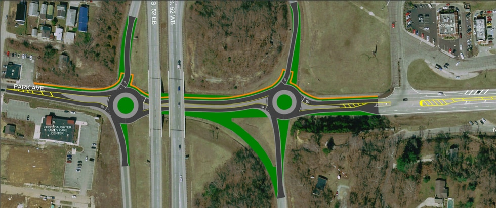 ODOT would convert two signalized intersections to single-lane roundabouts.