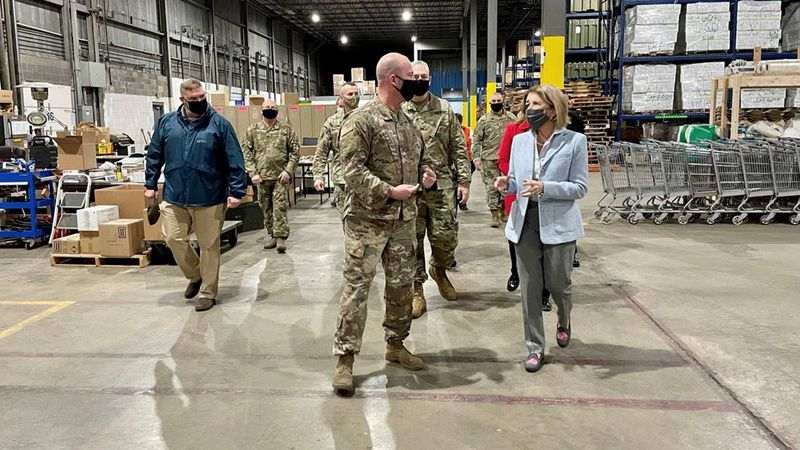 West Virginia Senator Shelley Moore Capito visits a COVID-19 warehouse managed by the National...