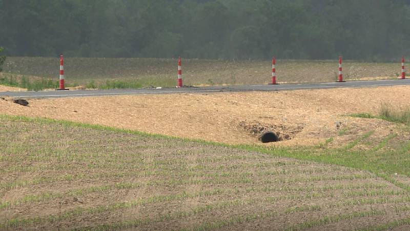 Ongoing work on state Route 7 as it passes through Jason Butler's farm in Gallia County, Ohio.
