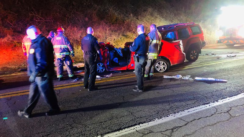 Two people were injured in a head-on crash early Monday morning in South Charleston