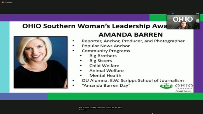 Amanda receives Ohio University Southern Woman of Leadership Award