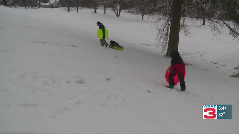 Some people in the region turned a snowstorm into a day of fun.