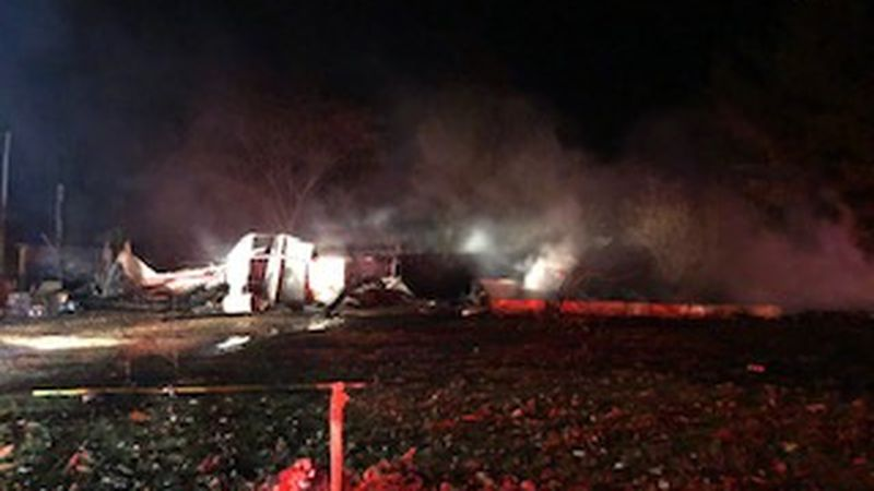 Firefighters say the home on Kentuck Road caught fire just after 6:30 p.m.