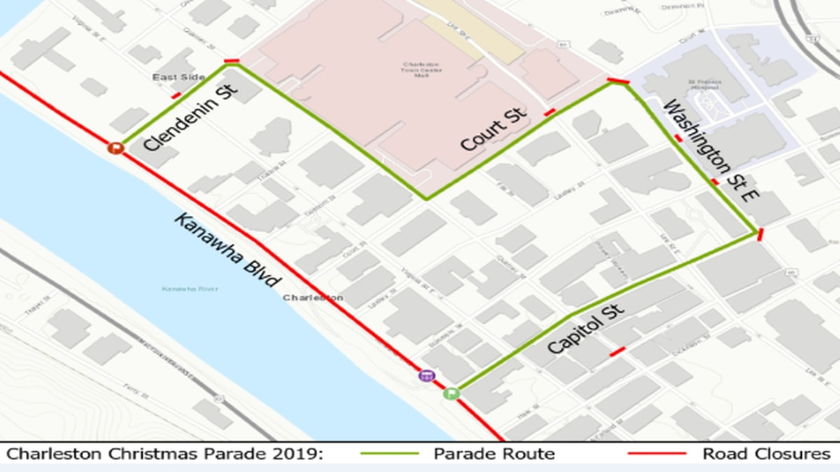 Route for the Charleston Christmas Parade on 12/12/2019.