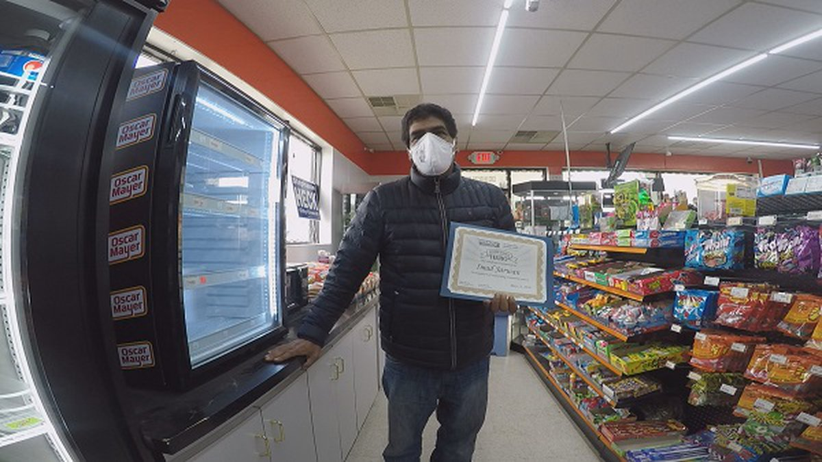 Sam Jarwan, owner of LuLu Mart in Huntington wins Hometown Hero award for May 15th, 2020.
