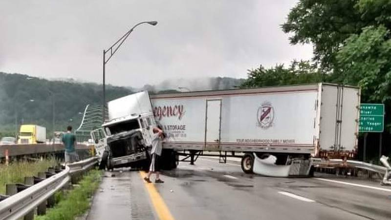 A tractor-trailer crash closed I-77 South near the Kanawha City bridge.