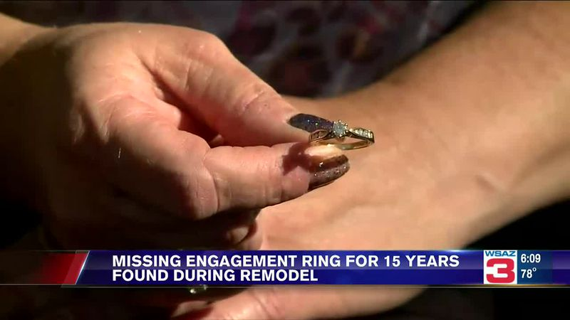 An engagement ring that was missing for 15 years was found during a bathroom remodel.