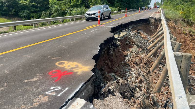 Road slip continues to crumble on state Route 2