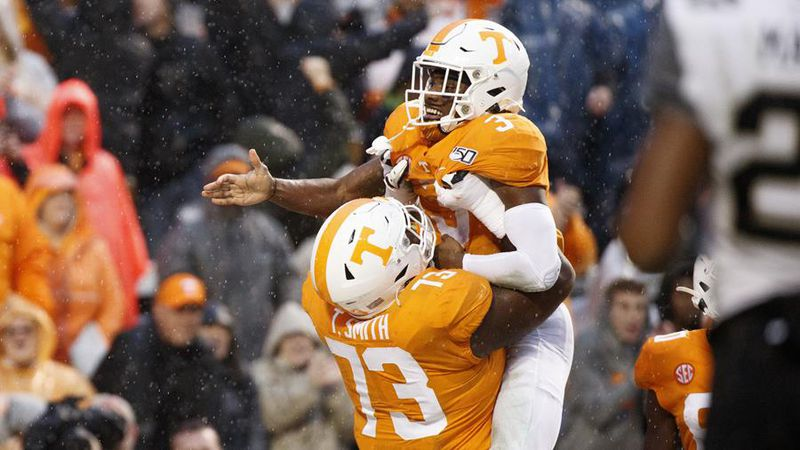 KNOXVILLE, TN - NOVEMBER 30, 2019 - Running back Eric Gray #3 of the Tennessee Volunteers and...