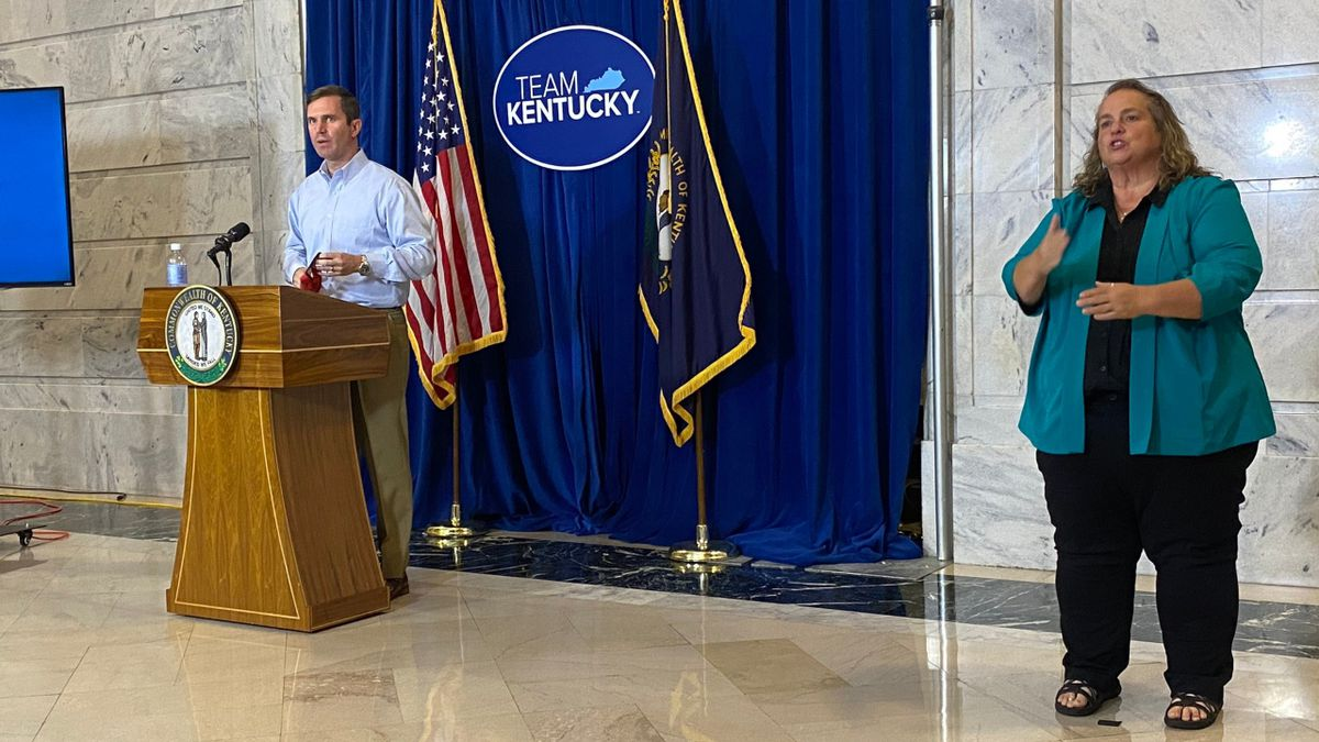 Governor Andy Beshear holds a briefing on COVID-19 cases in the state on August 12, 2020.
