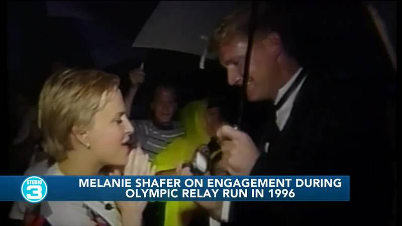 Melanie Shafer engaged at end of torch relay