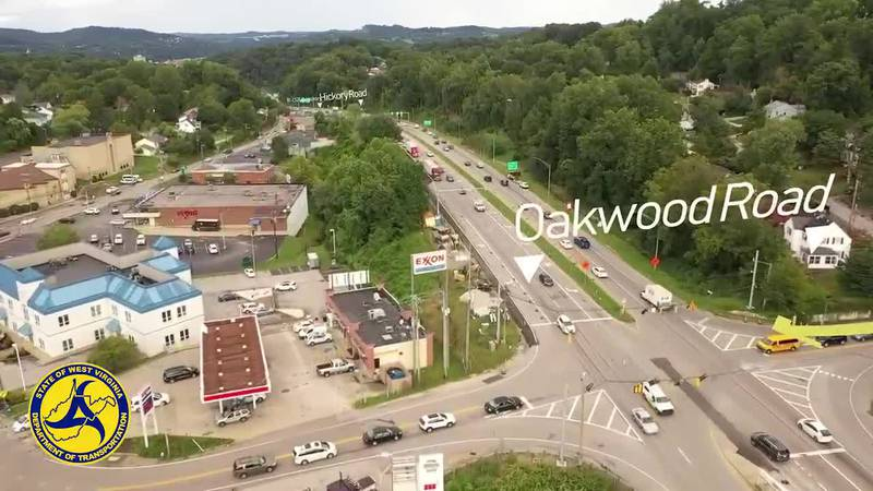 Drone footage of Oakwood Intersection Improvement Project