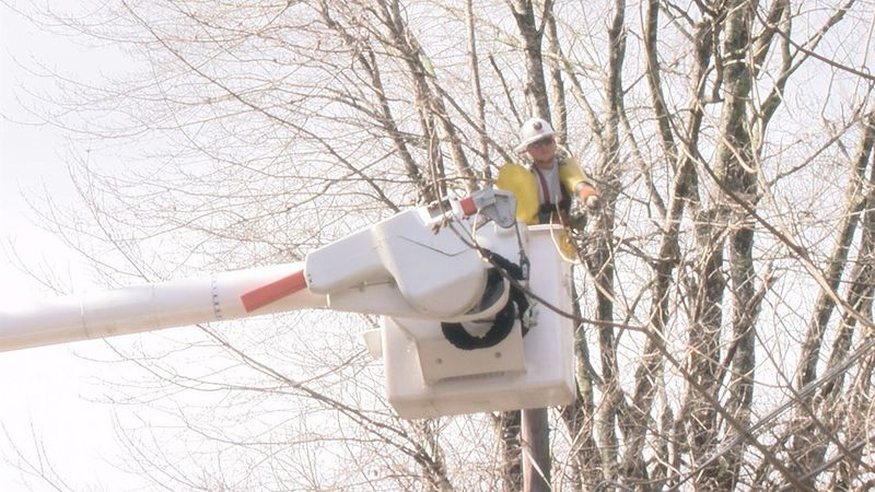 AEP crews replace wires that broke due to the ice storm.