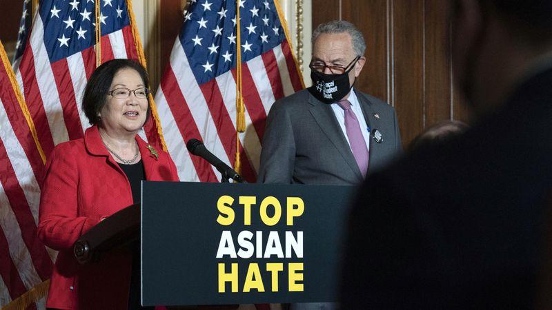 Sen. Mazie Hirono, D-Hawaii, accompanied by Senate Majority Leader Chuck Schumer, D-N.Y.,...