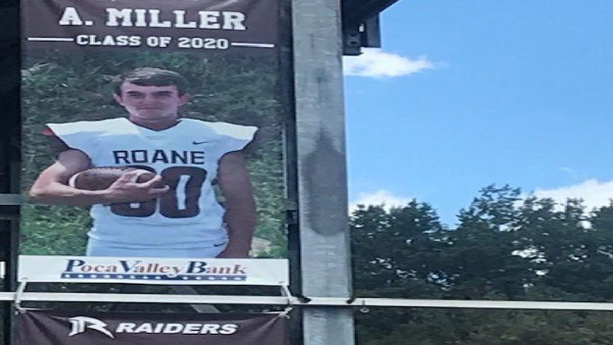 Alex Miller's senior banner hangs beside his teammates' at Roane County High School.