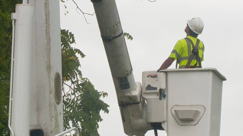 Ethan Watkins goes up in a boom truck to trim trees near power lines in Kanawha County.