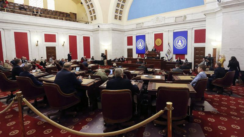 West Virginia Senate President Mitch Carmichael, R-Charleston, applauds opening remarks during...
