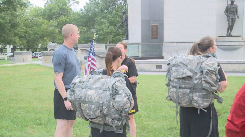 Service members donned full battle packs for a 6-mile walk or run.